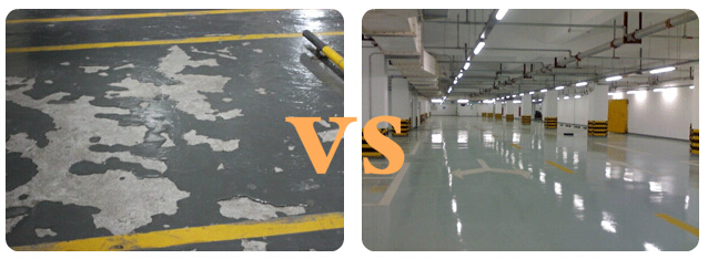 地下停车场地坪经由混凝土固化剂处理前后对比图片